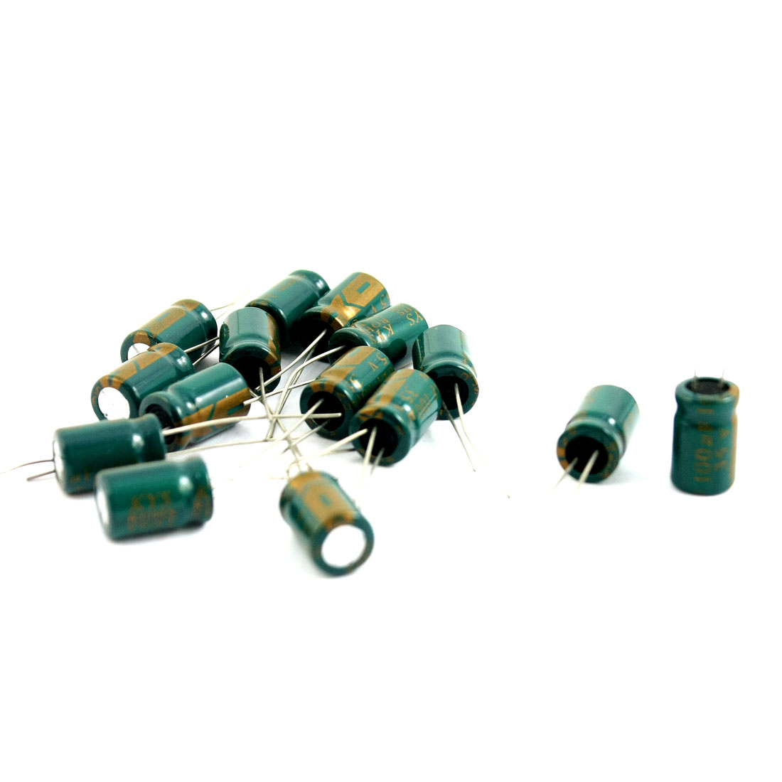 15 Pcs 100uF 35V 105C Radial Electrolytic Capacitors Green 8x12mm