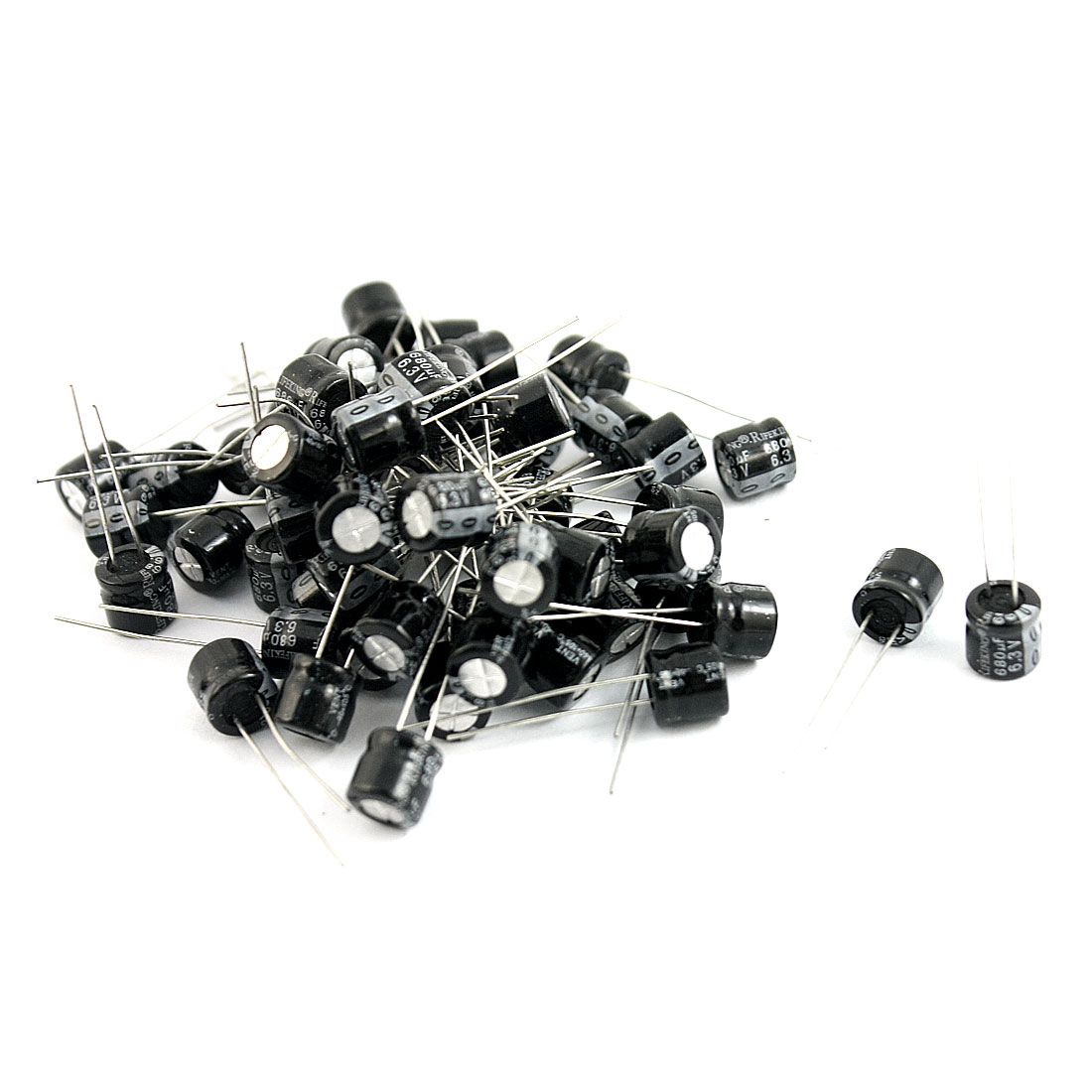 60 Pcs 680uF 6.3V 105C Radial Electrolytic Capacitors Black 8x7mm