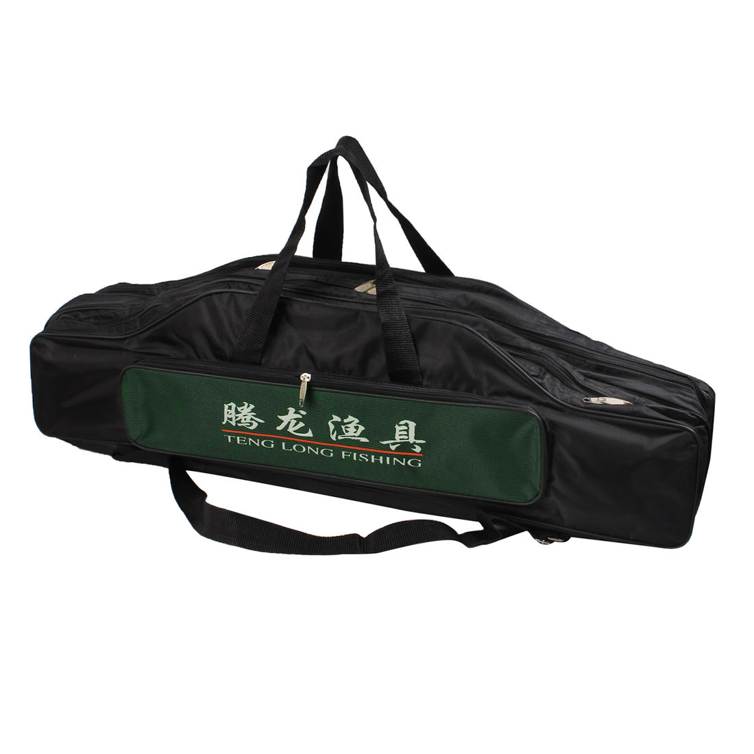 Zippered Style 5 Compartment Nylon Angling Fishing Rod Pole Bag Black Green