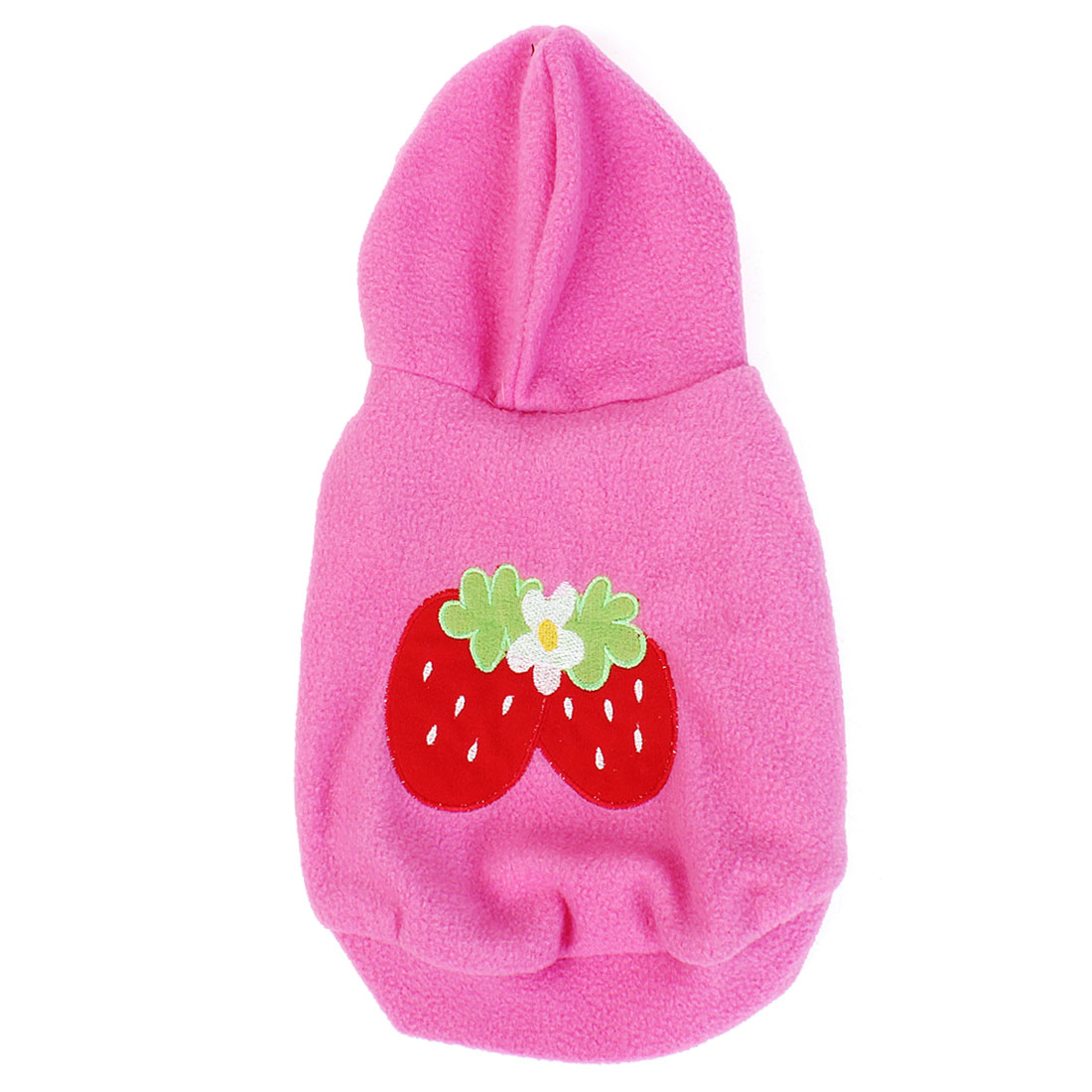 Winter Warm Strawberry Pattern Hoodie Sleeveless Pet Dog Doggy Apparel Coat Clothes Pink Size L