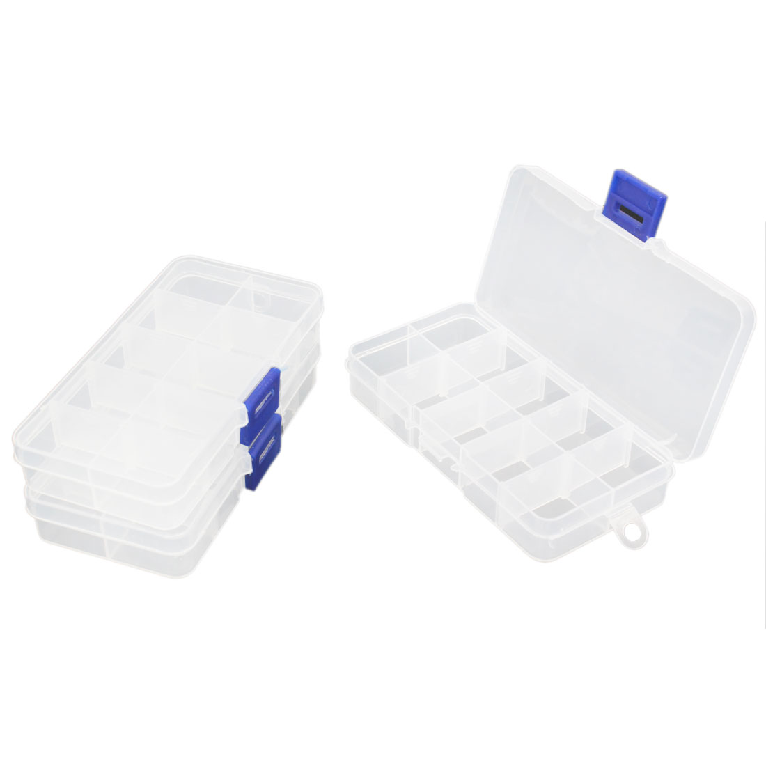 Clear White Plastic 10 Compartments Medicine Pills Storage Case Container 3pcs