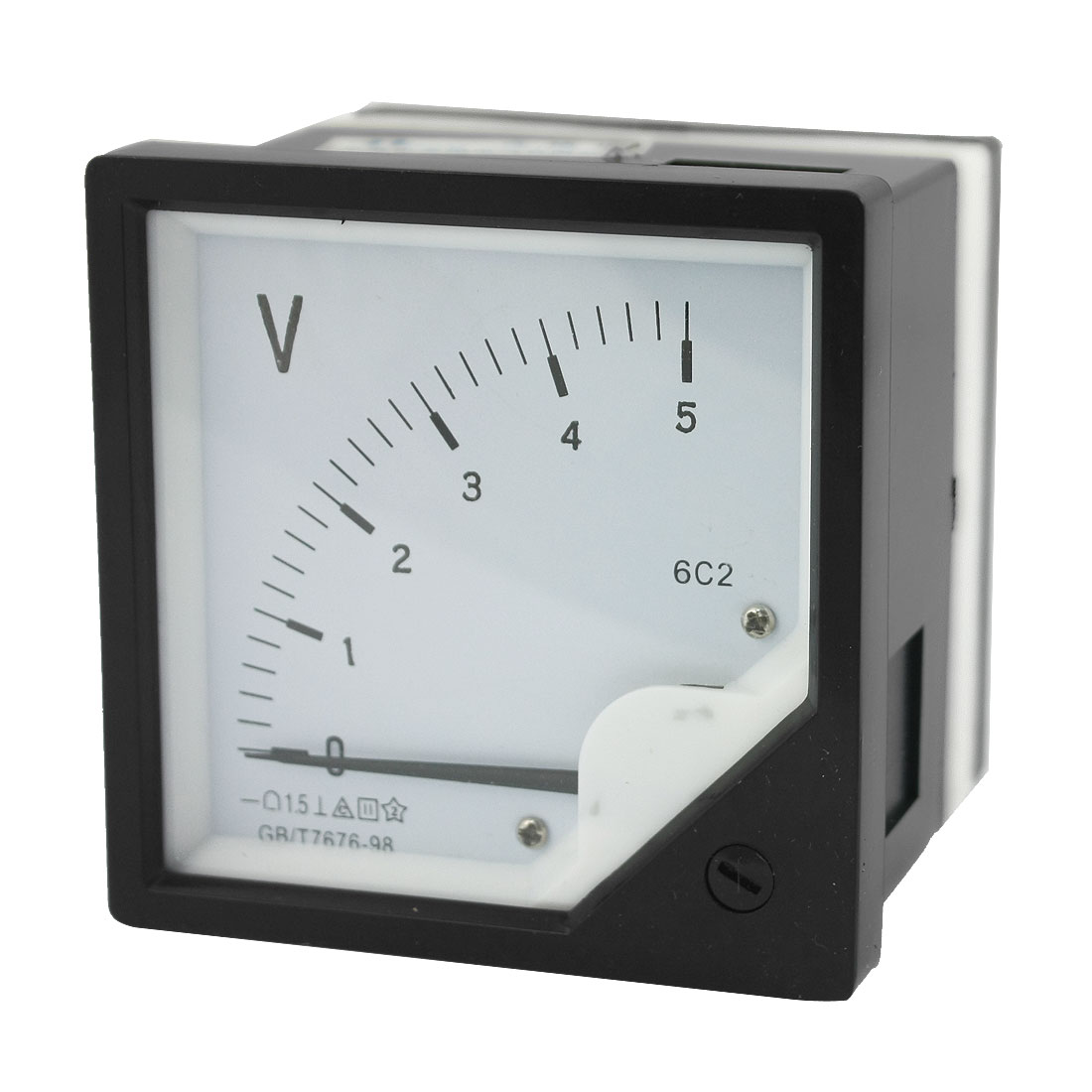 DC 0-5V Measuring Range Voltage Measurement Tool Rectangle Plastic Panel Analog Meter Voltmeter Class 2.5