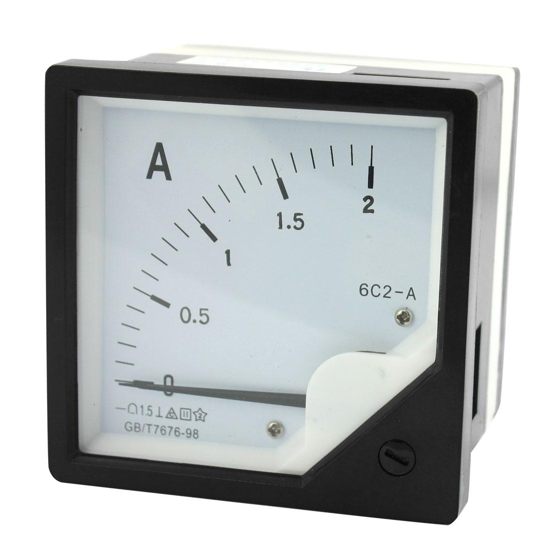DC 0-2A Measuring Range Class 1.5 Current Testing Rectangle Plastic Panel Analog Meter Amperemeter 6C2