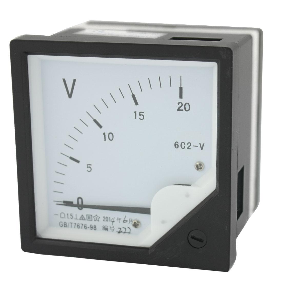 DC 0-20V Measure Range Class 1.5 Rectangle Plastic Panel Analog Voltmeter Voltage Meter