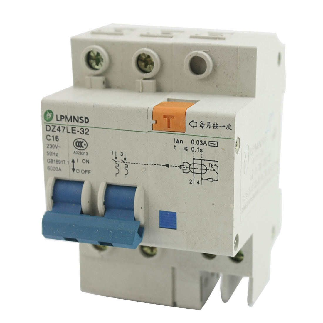 35mm DIN Rail Mounting On/Off Switch 2-Pole 4 Screw Teminal Electric Leakage Protector Mini Circuit Breaker AC 230V 16A