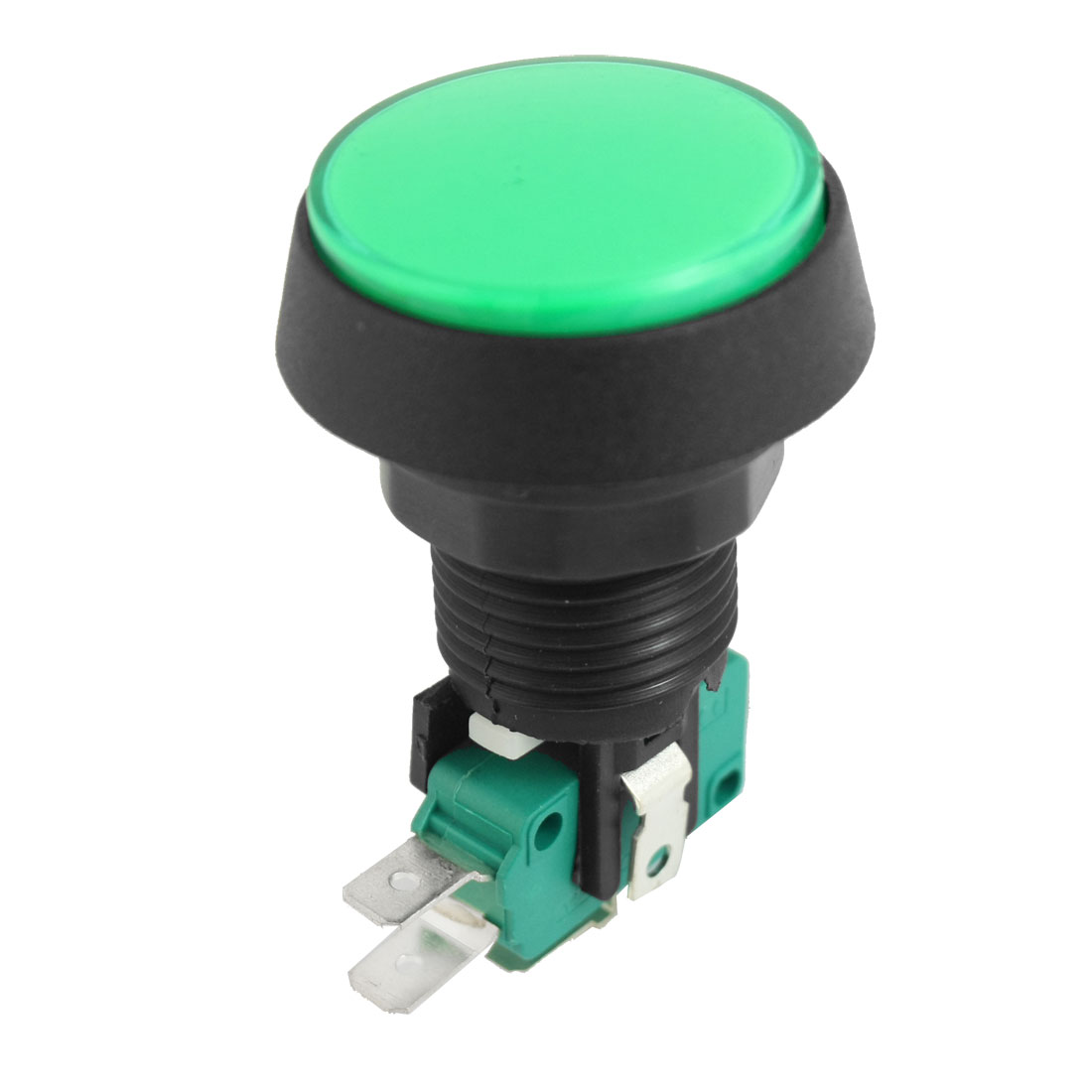 AC 125V 250V 16A 22mm Thread Panel Mounting SPDT 1NO 1NC Momentary Green Plastic Arcade Game Limit Push Button Switch