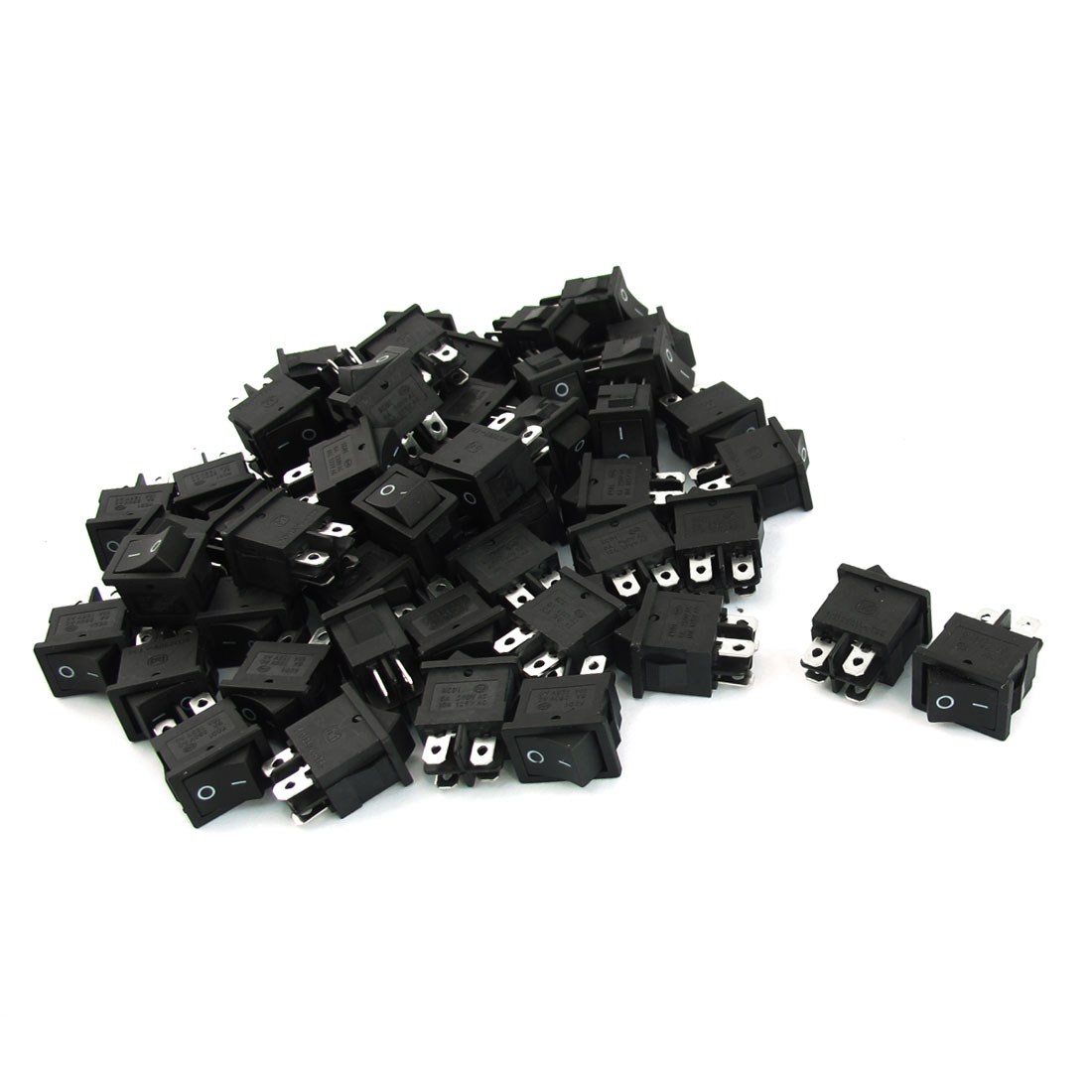 50PCS AC 250V/125V 5A/10A DPST Normal Open 4Pin 2-Position Snap in Mounting Boat Rocker Switch Black