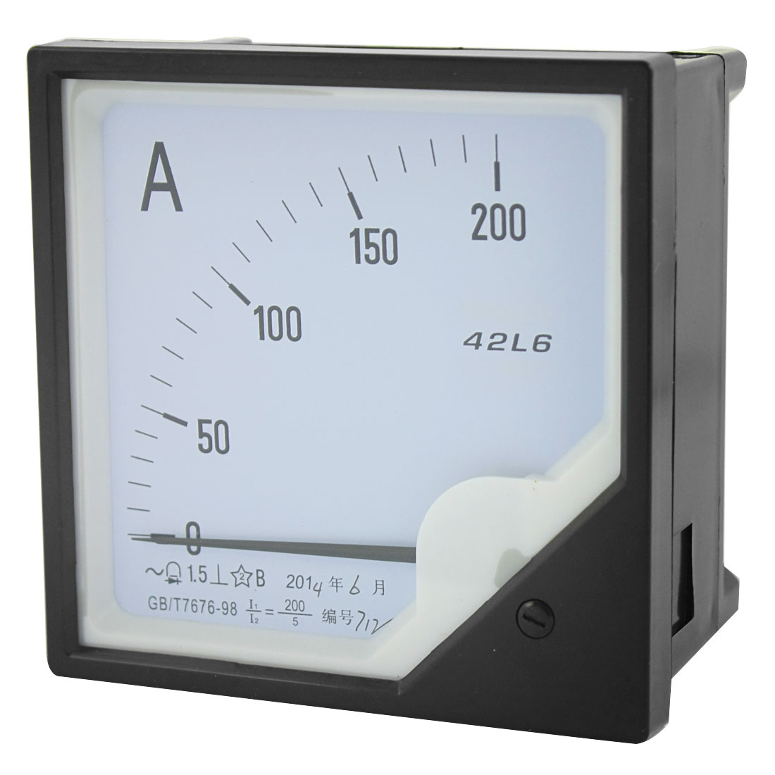 42L6 AC 0-200A Measuring Range Class 1.5 Current Testing Panel Mounting Square Plastic Analog Ammeter Amperemeter