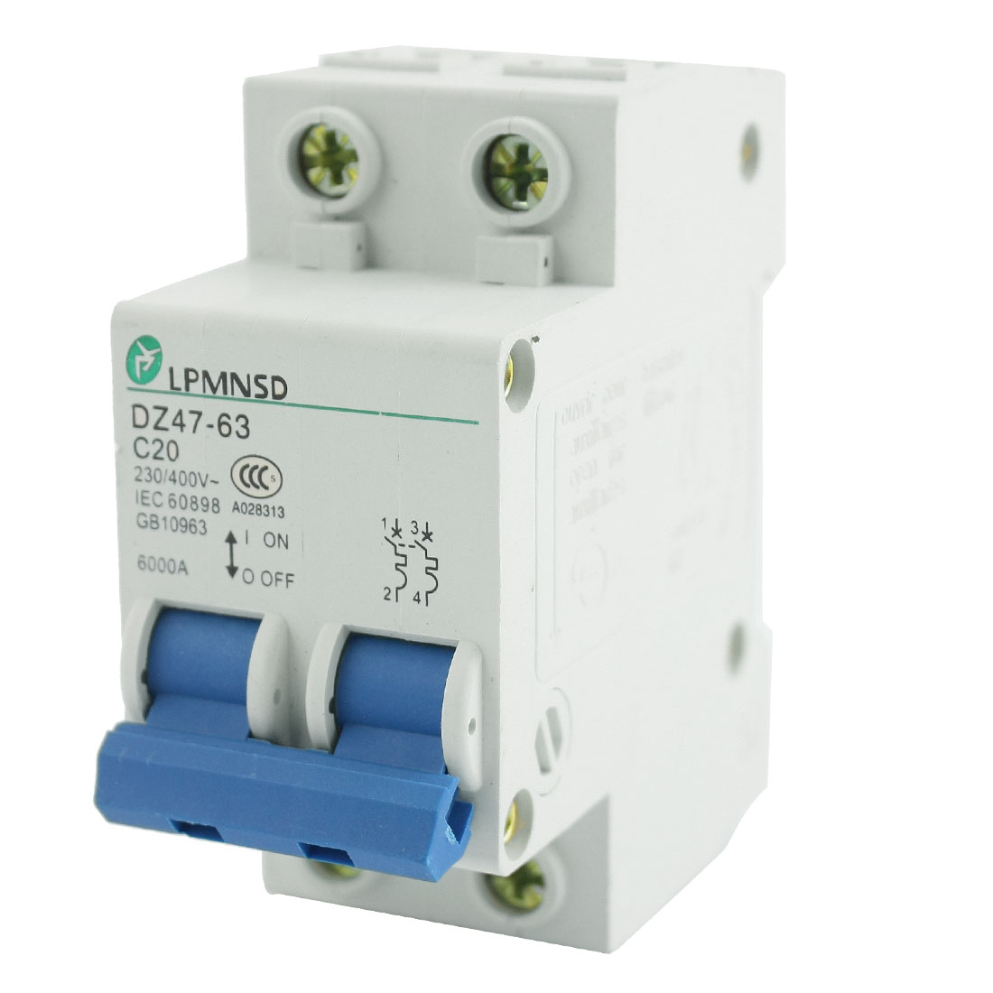 DZ47-63 35mm DIN Rail Mount 2 Pole On/Off Switch Overload Protector Mini Circuit Breaker AC 230V 400V 20A 6000A