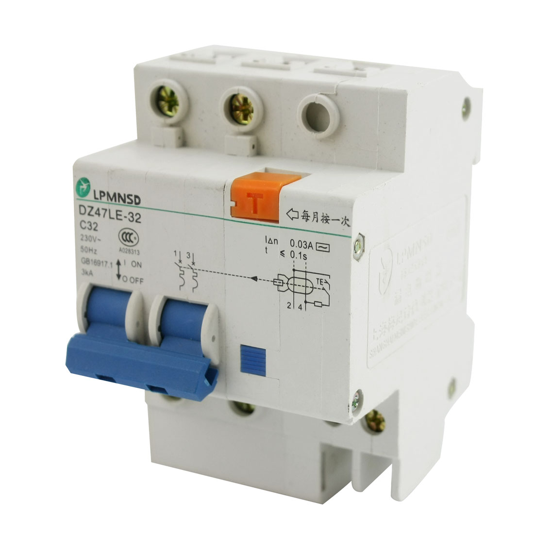 35mm DIN Rail 4 Screw Teminal 2-Pole On/Off Switch Electric Leakage Protection Circuit Breaker AC230V 32A 3KA