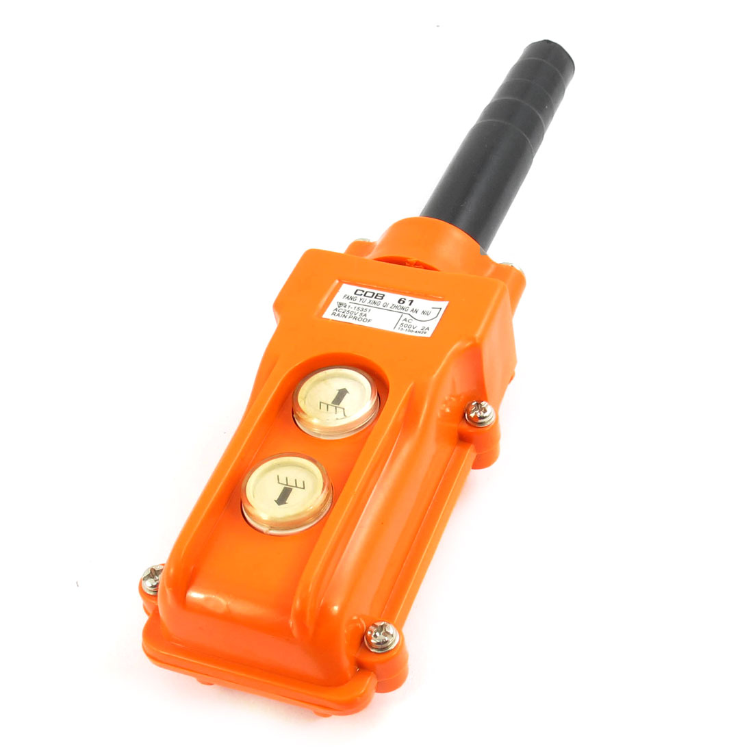 COB61 2-Way 2-Button Control Rainproof Pushbutton Switch AC 500V 2A for Hoist Crane