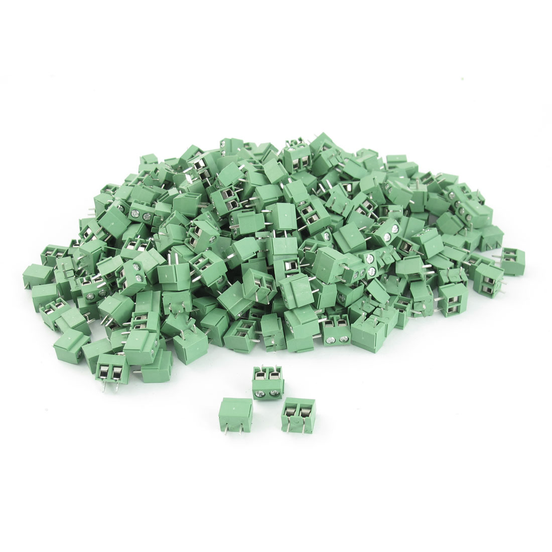 400Pcs 300V 10A 5mm Pitch 26-16AWG Through Hole PCB Surface Mount Plastic Screw Terminal Block Green