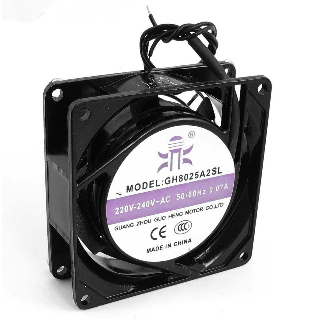 AC 220V-240V 0.07A 2 Wire Connect Black Metal 7-Flabellum Axial Fan Heatsink 80mm x 25mm