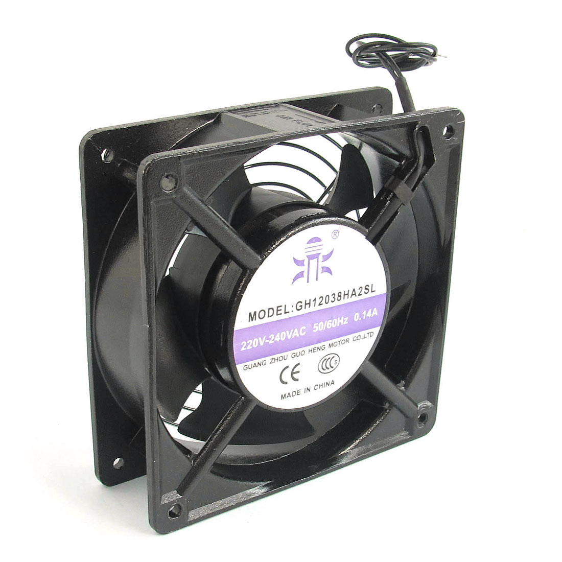 AC220V-240V 0.14A 2 Wired Black Metal 5 Flabellums Axial Cooling Fan Cooler Radiator Heat Sink w Cover