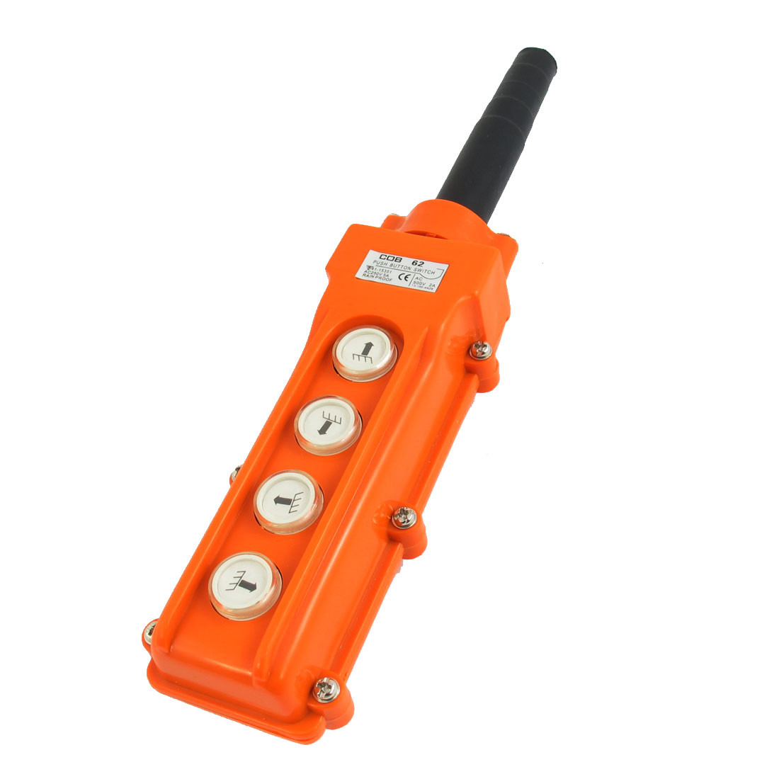 COB62 AC500V 2A Up Down Left Right 4-Way 4-Button Rainproof Hoist Crane Control Station Pushbutton Switch