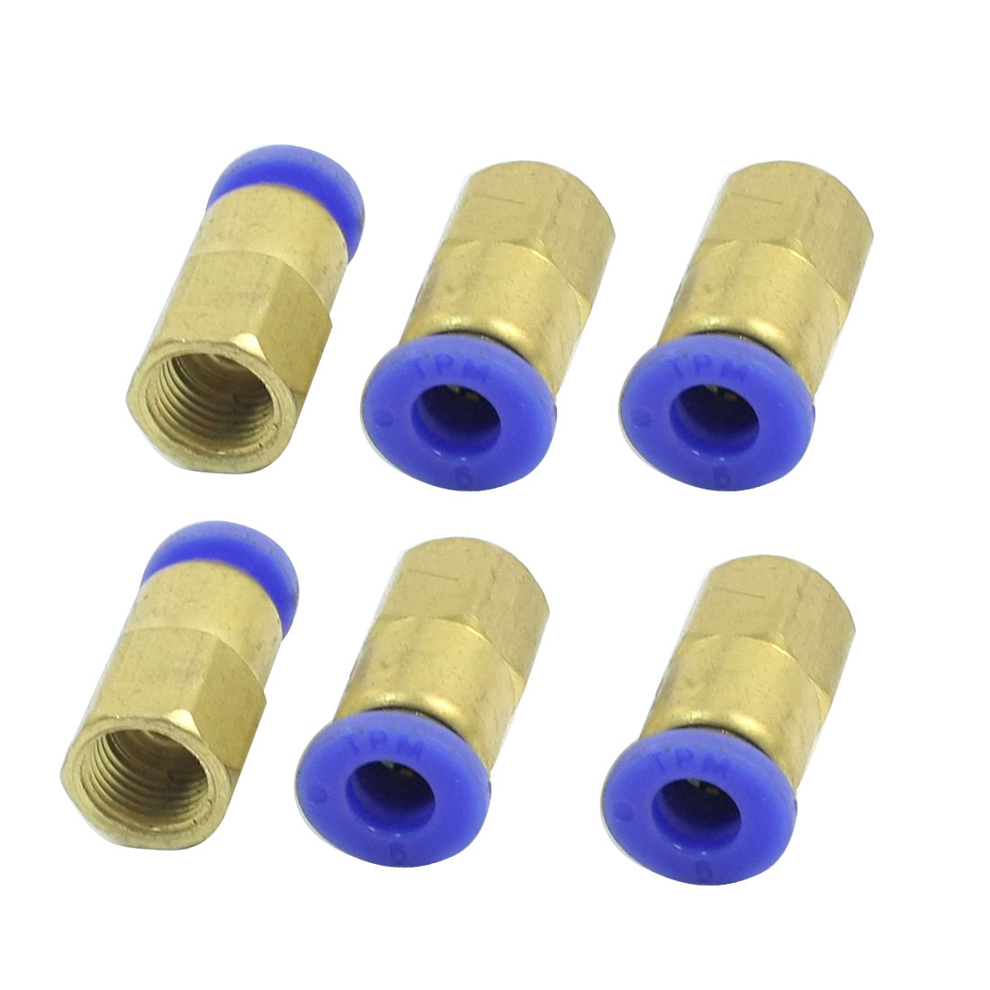 6Pcs 1/8PT Female Threaded to 6mm Push in Pipe Dia Air Pneumatic Straight Quick Coupler Fitting Connector