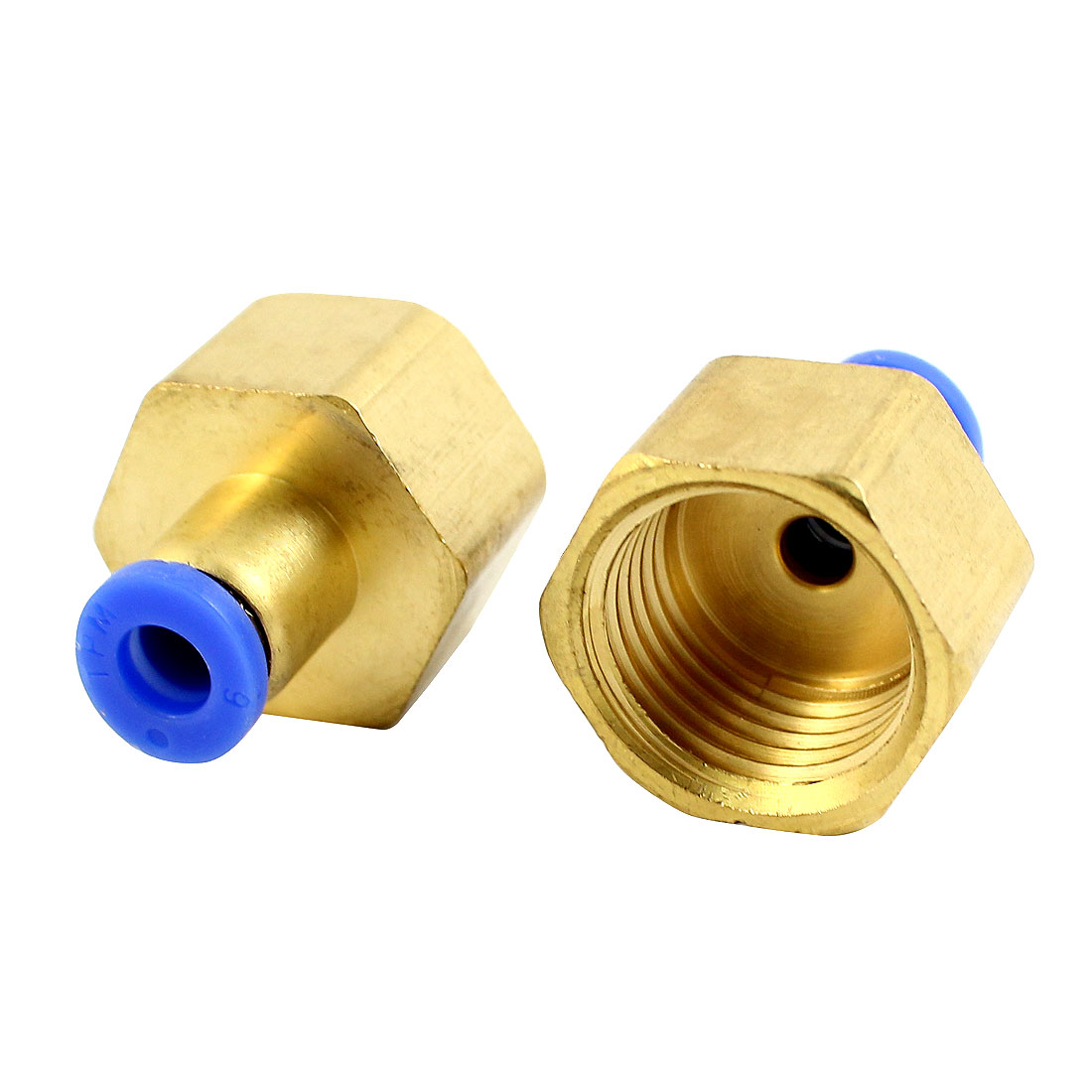 2 Pcs 1/2PT Female Thread 6mm Push In Pipe Straight Connector Air Pneumatic Quick Release Fitting Coupler