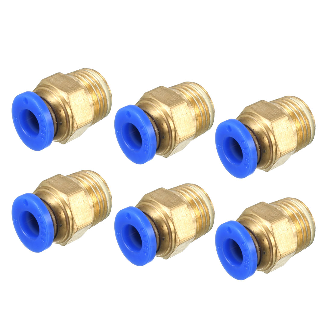 6 Pcs 1/4PT Male Thread to 6mm Hole Air Pneumatic Quick Release Coupler Fitting Connector Joint