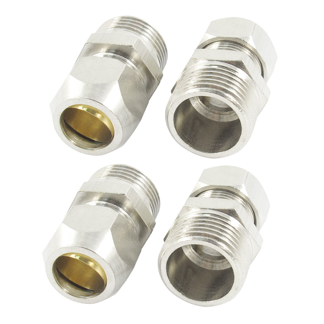 4Pcs 3/8PT Male Thread to 10mm Metal Pipe Dia Straight Tube Connector Quick Release Coupler Fitting Joint Fastener