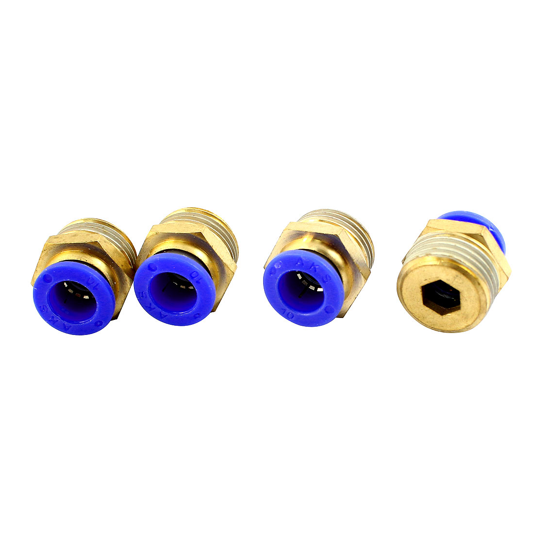 4Pcs 1/2PT Thread to 10mm OD Tube Connector Straight Air Pneumatic Quick Release Coupler Fitting Connector Joint
