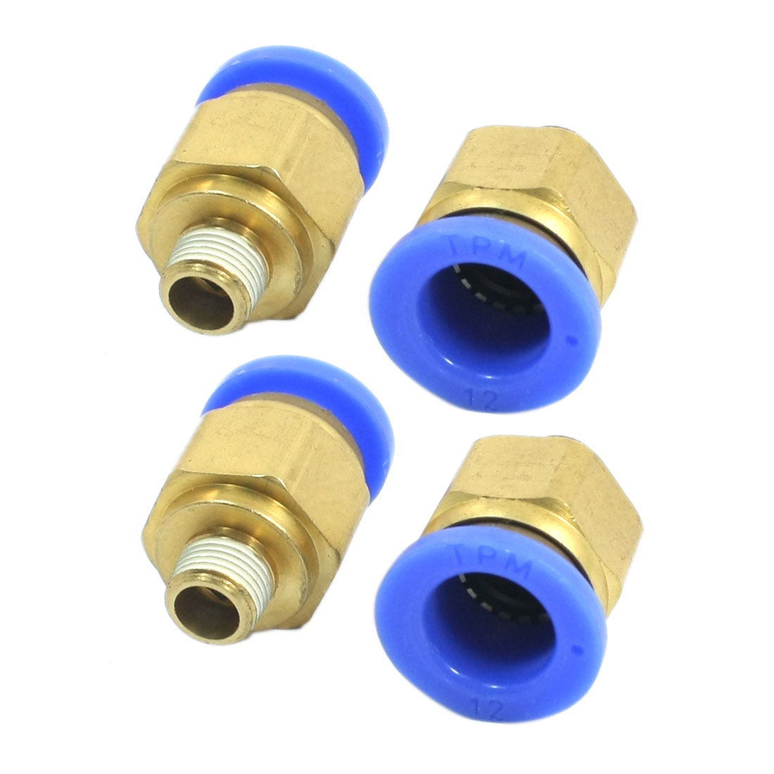 4 Pcs 12mm Push in Tube 1/8PT External Threaded Dia Pneumatic Air Quick Fitting Coupler Joint Connector Adapter