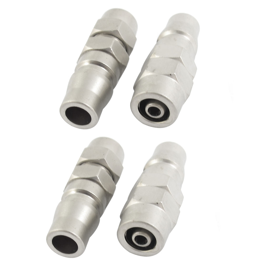 4Pcs 8mm x 5mm Hose PP20 Type Air Pneumatic Quick Coupler Coupling Fitting Pipe Connector Silver Tone