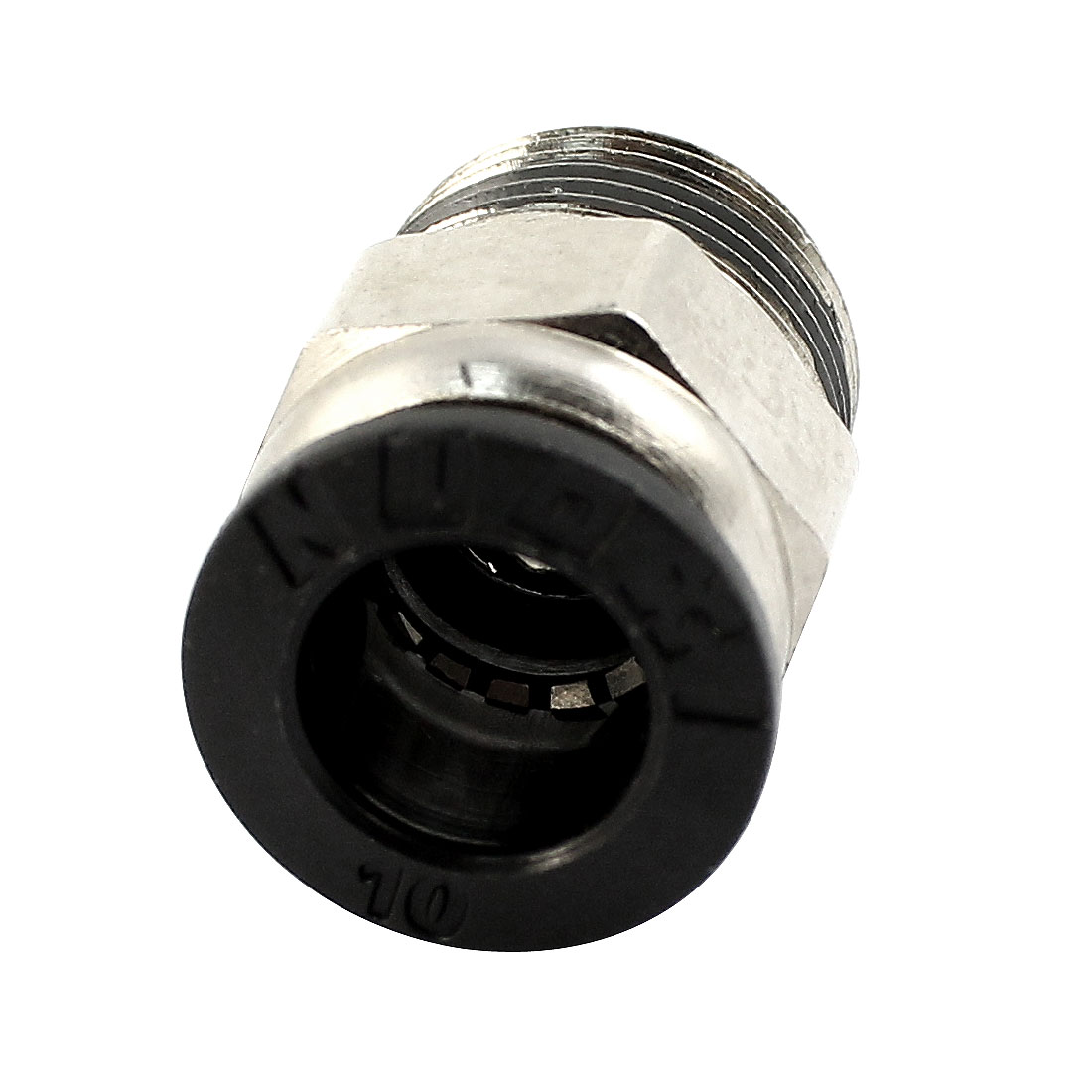 3/8PT Male Threaded to 10mm Push in Tube Silver Tone Metal Straight Air Pneumatic Quick Release Coupler Fitting Connector Joint