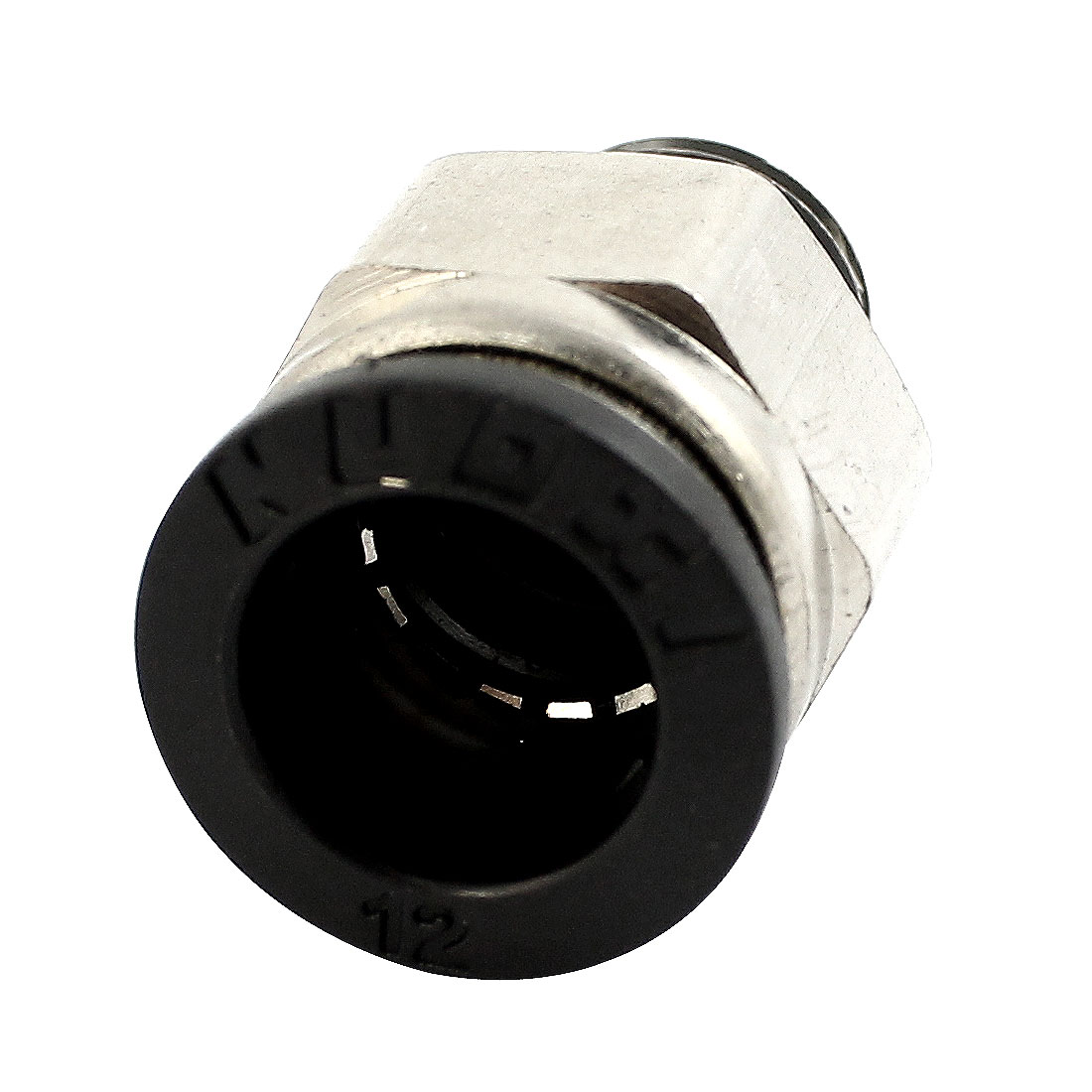 1/4PT Male Threaded to 12mm Dia Tube Silver Tone Metal Straight Air Pneumatic Quick Release Coupler Fitting Connector Joint