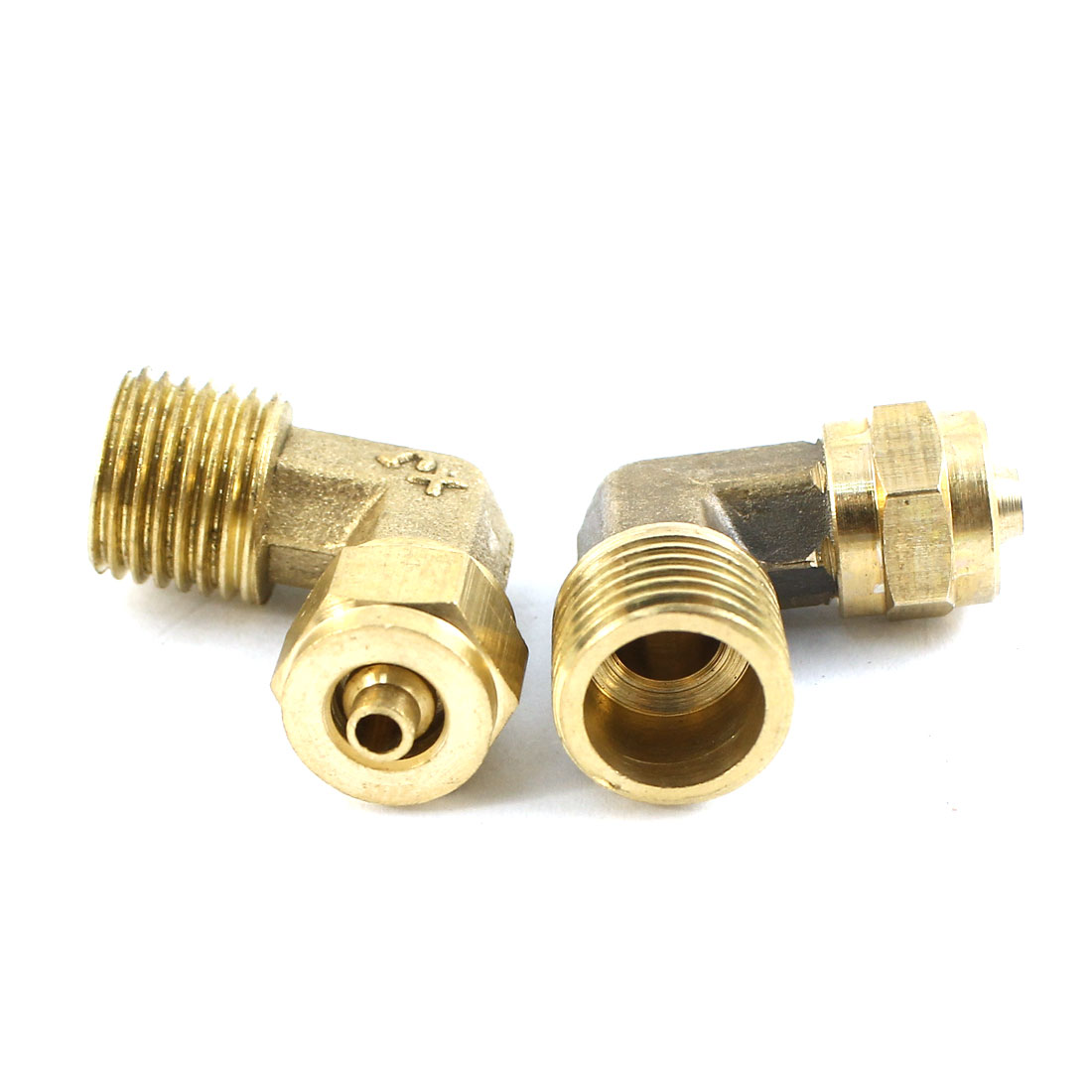 2PCS Air Pneumatic 1/4PT Male Thread 6mm Tube Dia Right Angle Quick Coupler Fitting Joint Connector
