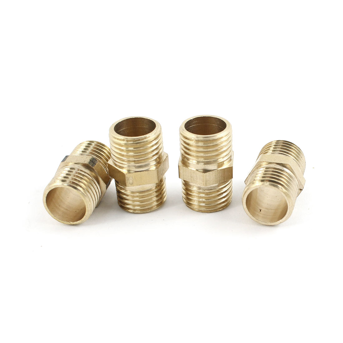 4Pcs 1/4PT to 1/4PT Male Threaded Reducer Pipe Hex Nipple Coupler Straight Connector for Water Heating Fitting