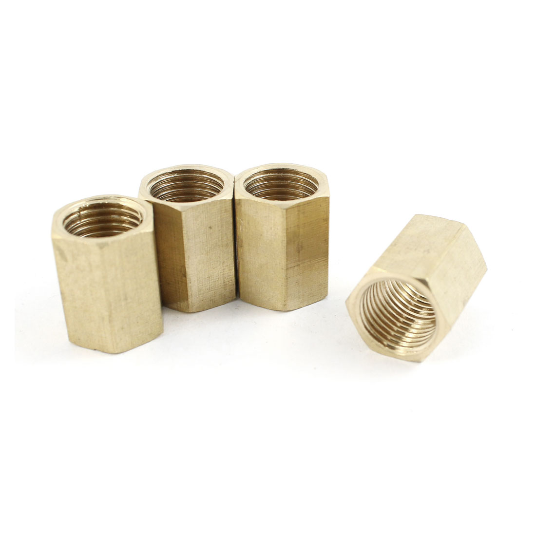 4pcs 1/4PT Female Thread Hex Straight Air Pneumatic Connector Joint Adapter Brass Tone