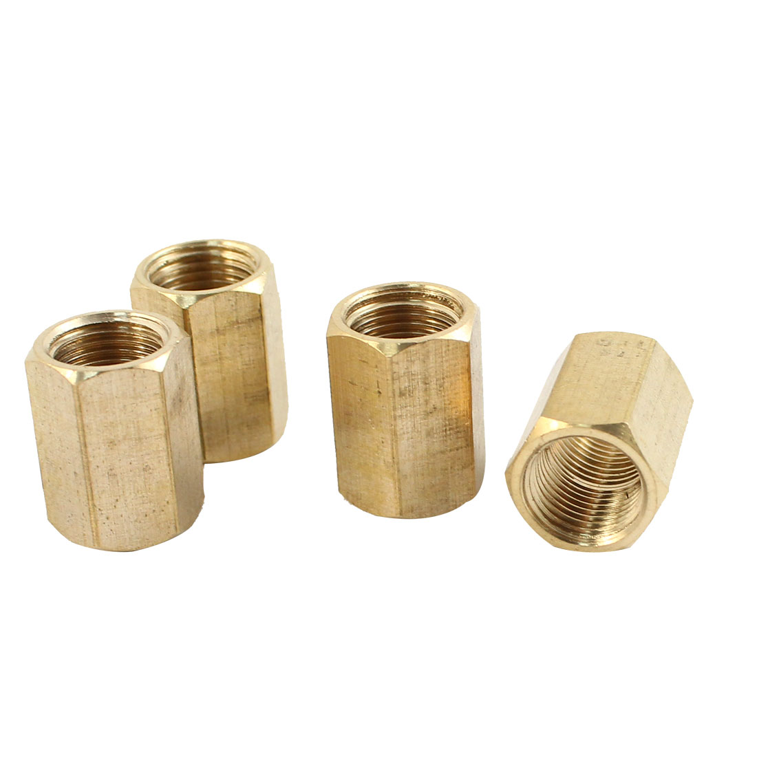 4pcs 1/8PT Female Thread Hex Straight Air Pneumatic Connector Joint Adapter Brass Tone