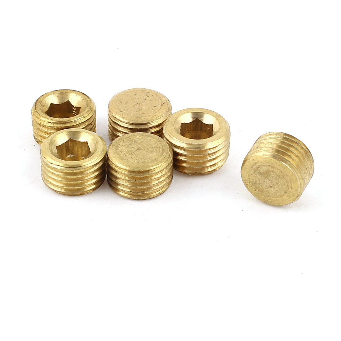 6pcs Brass Tone 1/4PT Male Thread Brass Hex Head Pipe Cover Fittings Coupler Connector