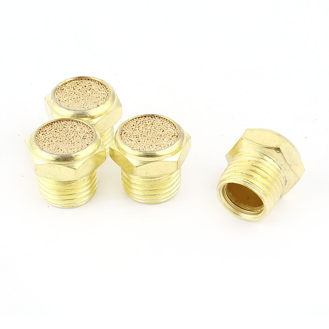 4Pcs Pipe Hex Head Fittings 1/4PT Male Threaded Pneumatic Cap Cover Gold Tone