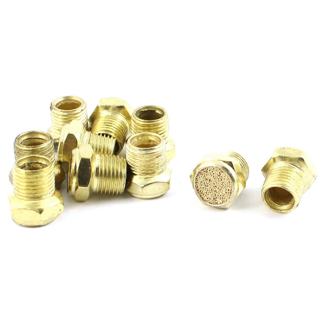 10Pcs 1/8PT Male Thread Gold Tone Sintered Solenoid Valve Pneumatic Air Filter Absorb Noise Exhaust Silencer Muffler