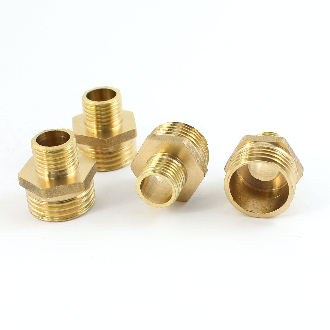 4Pcs 1/4PT to 1/2PT Male Threaded Reducer Pipe Hex Nipple Coupler Straight Connector for Water Heating Fitting