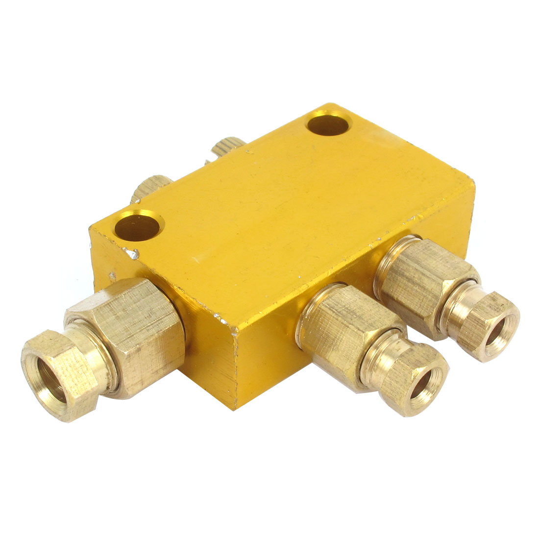 Air Pneumatic 10mm Inlet 8mm Outlet 2 Ways Brass Adjustable Hydraulic Oil Distributor Regulating Manifold Block