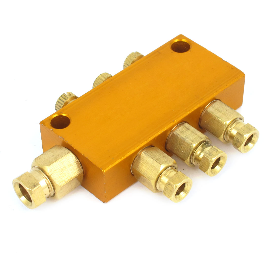 1-Inlet 3-Outlet Brass Adjustable Hydraulic Oil Distributor Regulating Manifold Block