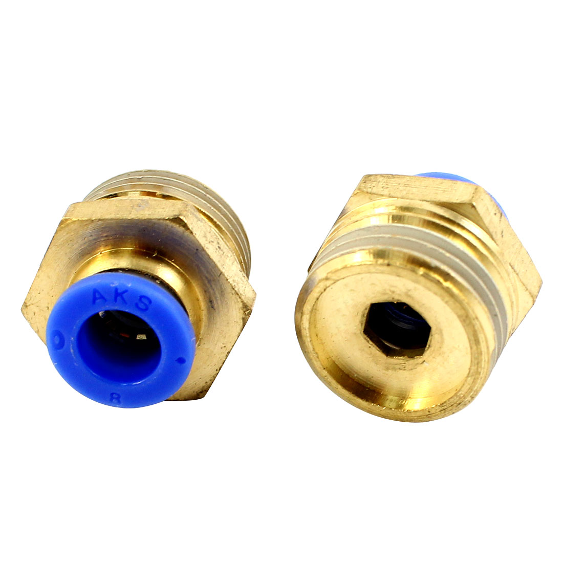 2Pcs 1/2PT Male Threaded to 8mm OD Push in Tube Straight Air Pneumatic Quick Release Coupler Fitting Connector