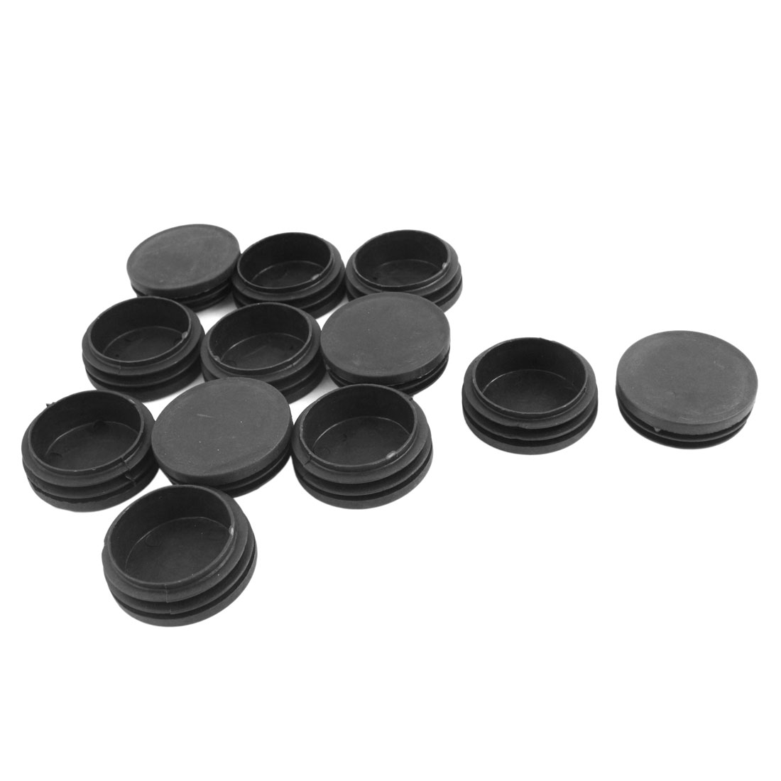 12 Pcs Black Plastic 50mm Dia Round Tubing Pipe Insert Caps Covers