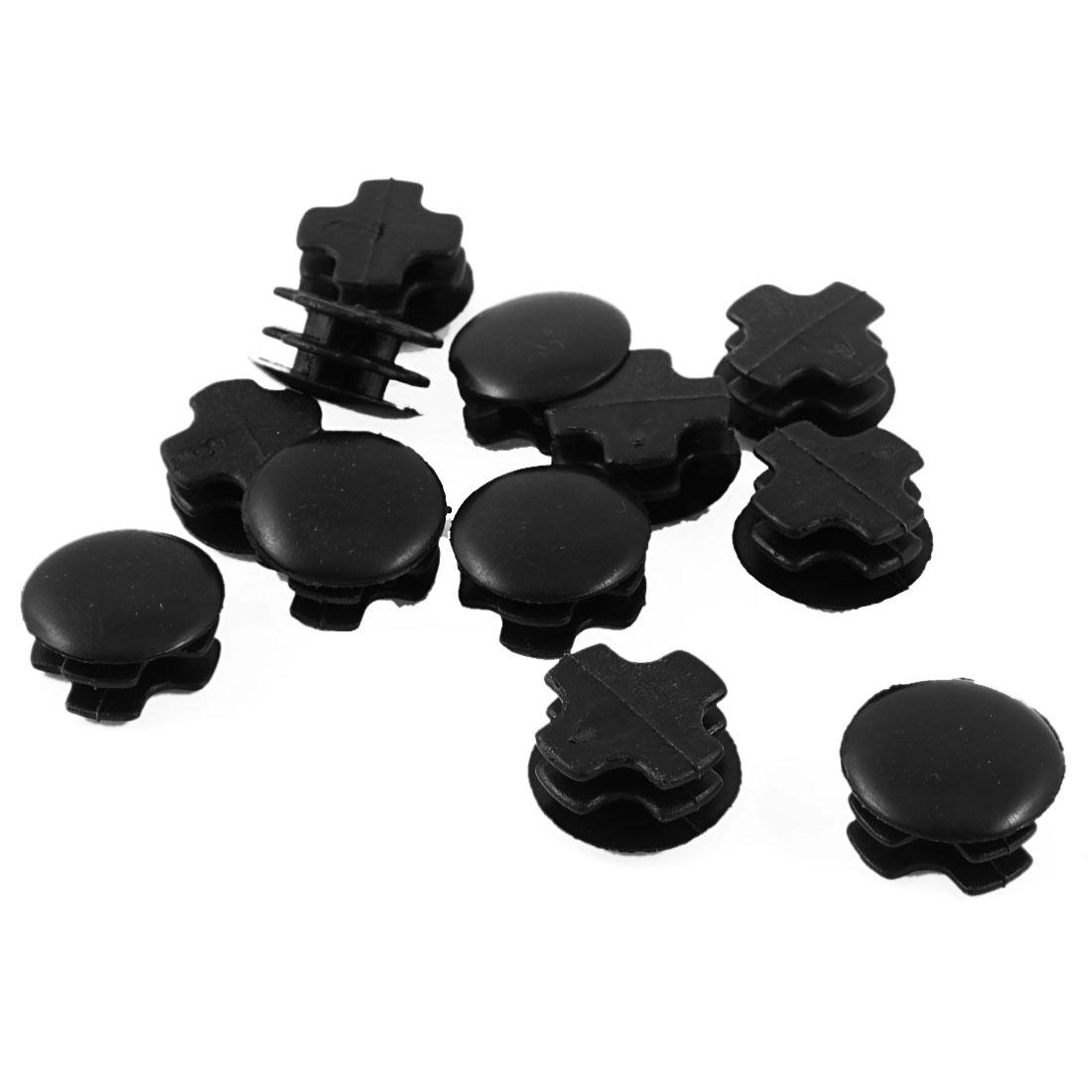 12 Pcs Black Plastic 22mm Dia Round Tubing Tube Insert Caps Covers