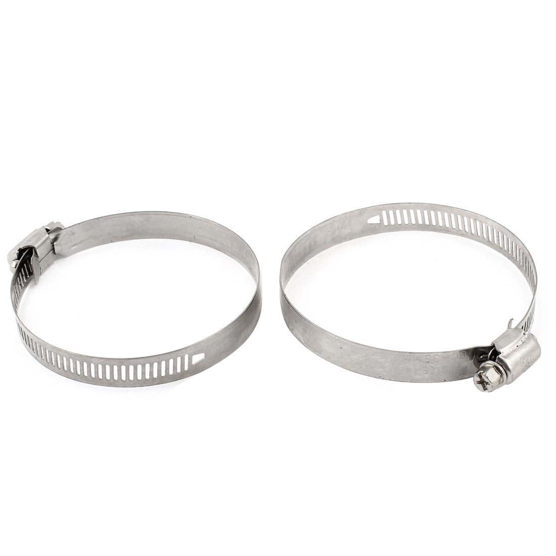 2pcs 12mm Width Stainless Steel Ring Worm Drive Hose Clamp Hoop 60-83mm