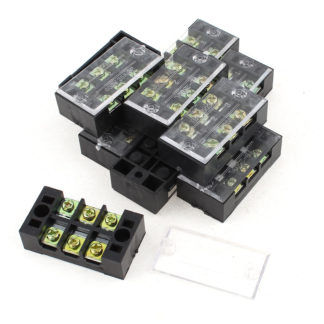 10Pcs 600V 25A Dual 3 Position Barrier Screw Terminal Block Wire Board
