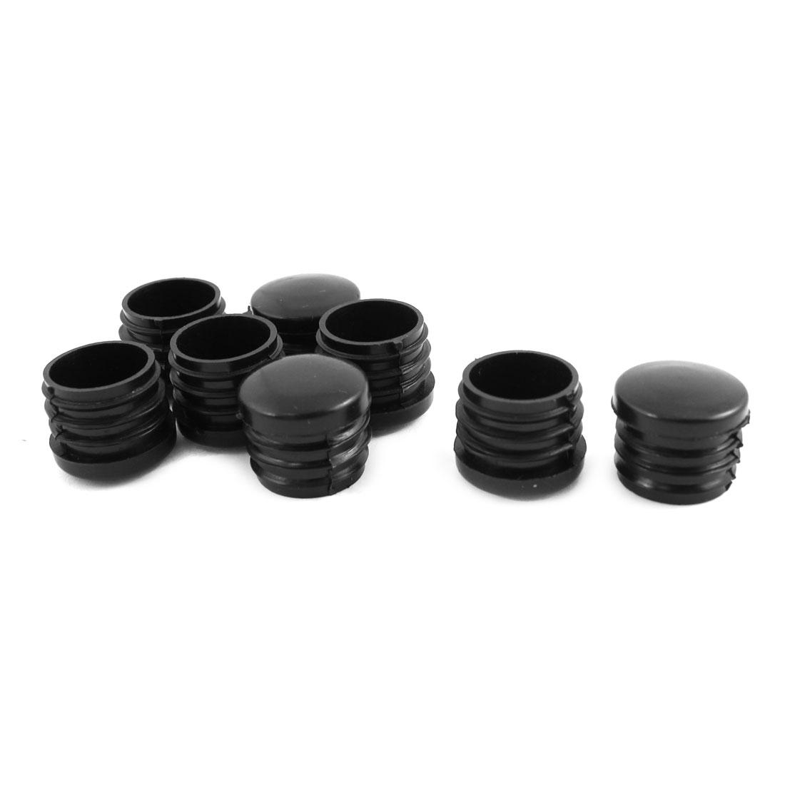 8 Pcs Black Plastic 25mm Dia Round Tubing Pipe Insert Caps Covers