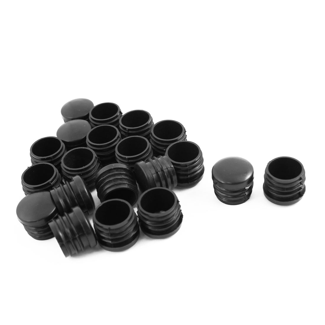 20 Pcs Black Plastic 25mm Thread Round Tubing Pipe Insert Caps Covers