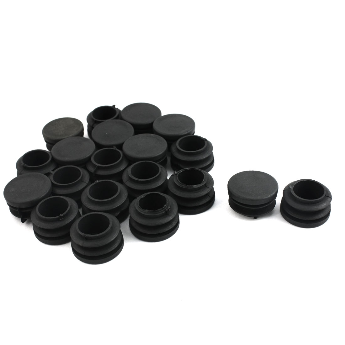 20 Pcs Black Plastic 30mm Diameter Round Tube Pipe Insert Caps Covers