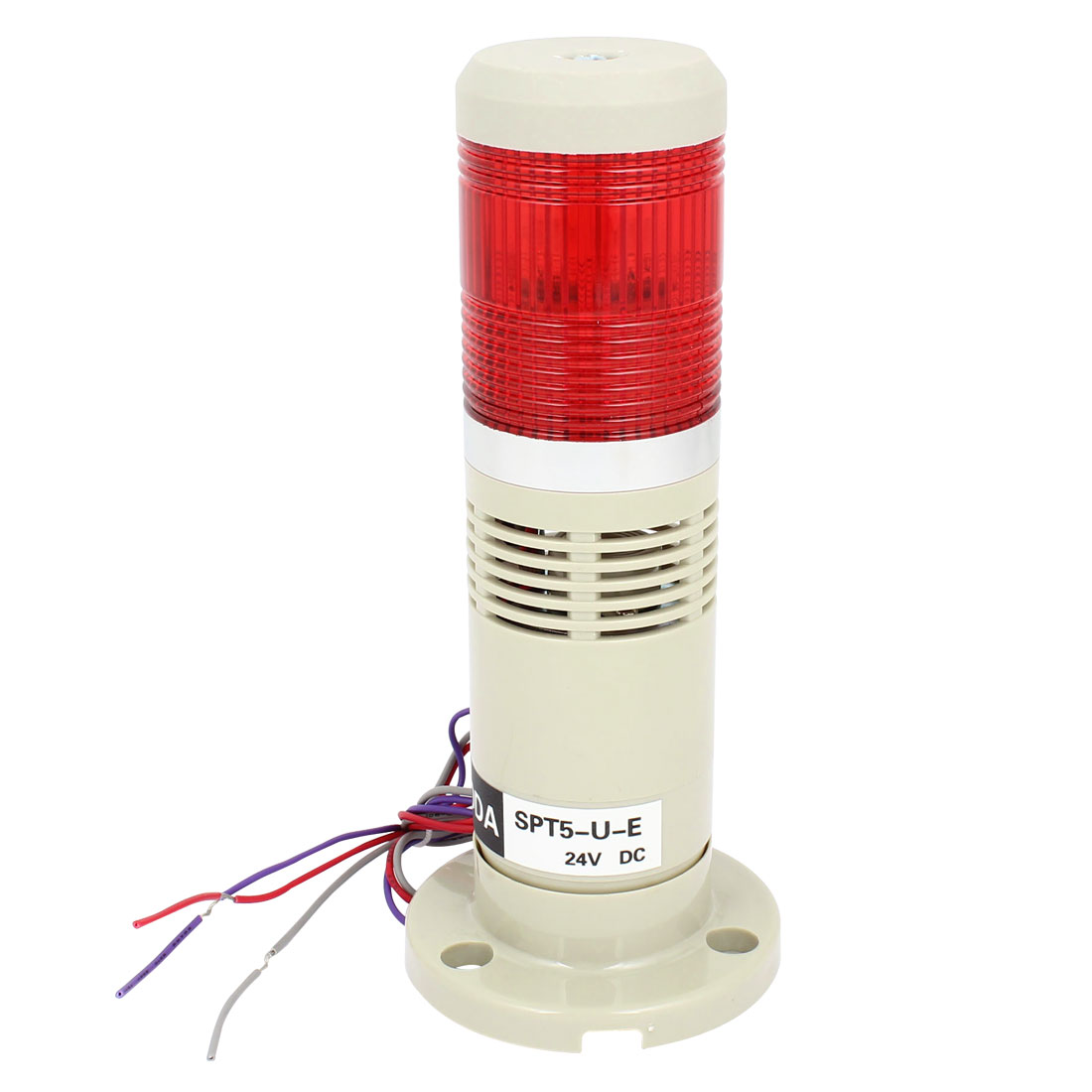 Red Industrial Signal Tower Stack Indicator Light Bulb Buzzer 90dB DC 24V