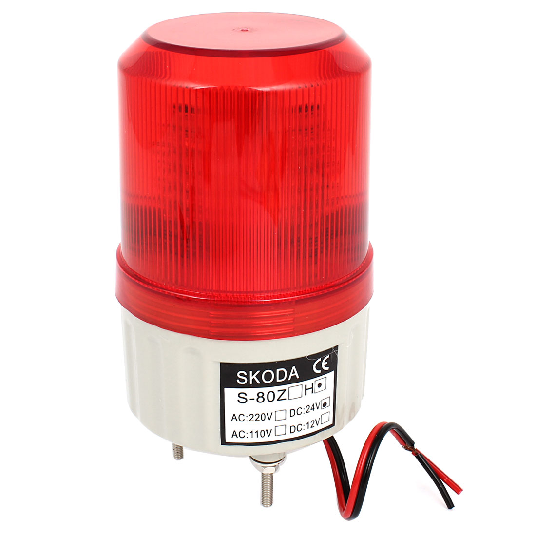 Red LED Flash Industrial Signal Tower Safety Stack Alarm Light 90dB DC 24V