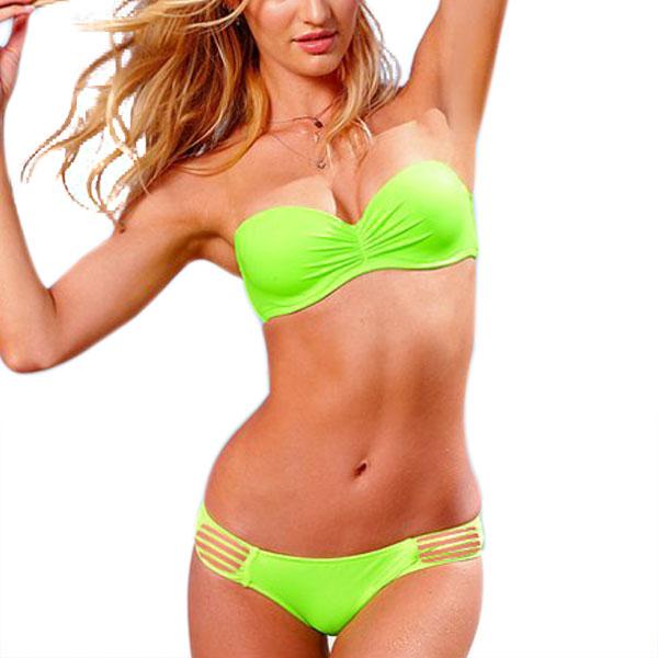 Ladies Elastic Strap Halter Push Up Bra Bottom Swimwear Bikini Sets Green M