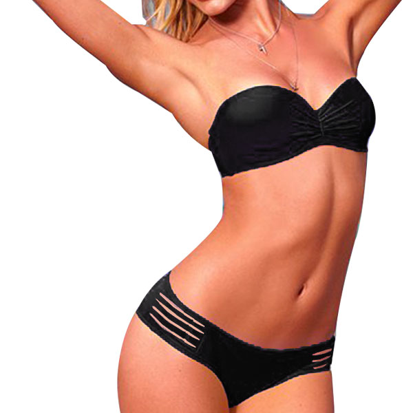 Ladies Elastic Strap Halter Push Up Bra Bottom Swimwear Bikini Sets Black S